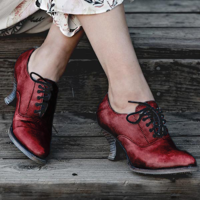 Style Leather Lace-Up Low Boots