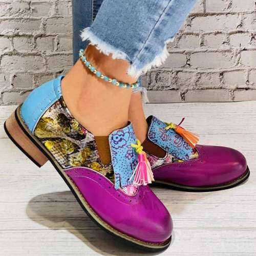 Women Casual Retro Pu Purple Tassel Slip On Loafers