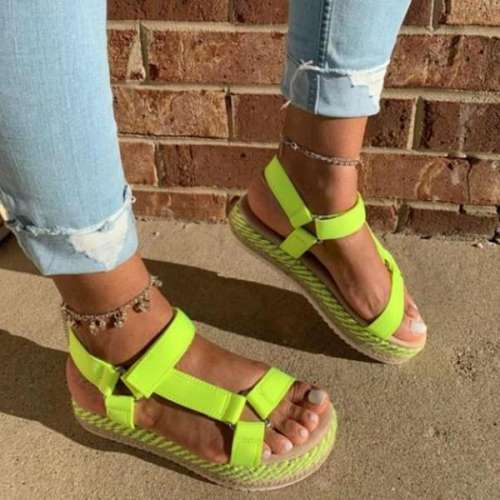 Summer Open Toe Slip-On Platform Casual Thread Sandals