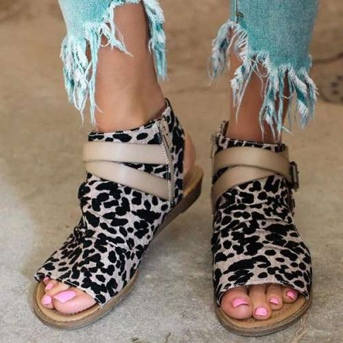 Fashion Zipper Cloth Flat Sandals
