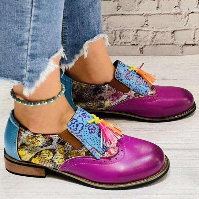 Women Casual Retro Pu Purple Tassel Slip On Loafers