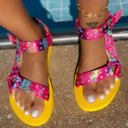 Women Fashion Web celebrity style Magic Tape Flat Sandals