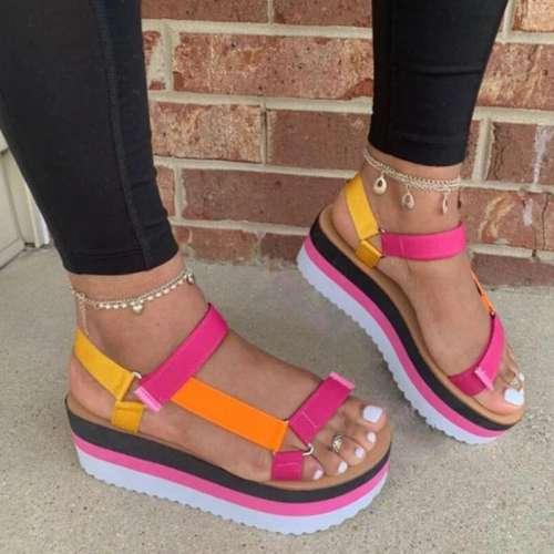 Platform Open Toe Strappy Velcro Platform Sandals