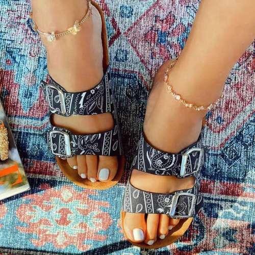 Women Stylish Pu Bandana Two Buckle Sandals