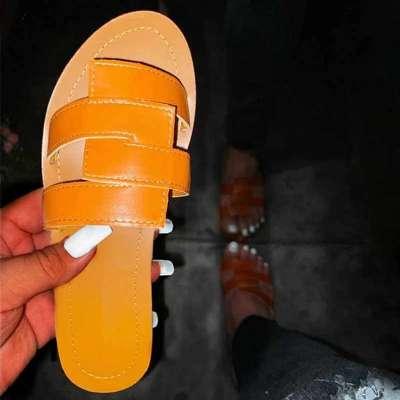 Women Rhinestones Hit Color Open Toe Slip On Flat Heel Slippers