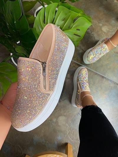 Colorful Diamond Slip On Flats