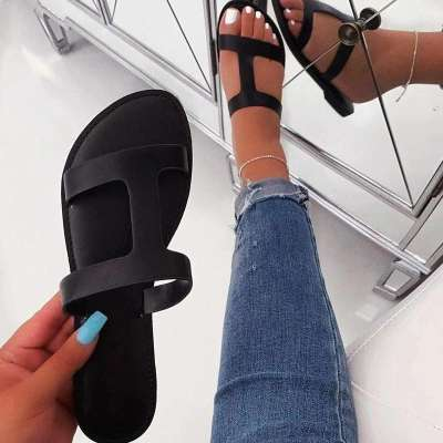 Slip-On Thread Flip Flop Flat With Casual Color Block Slippers
