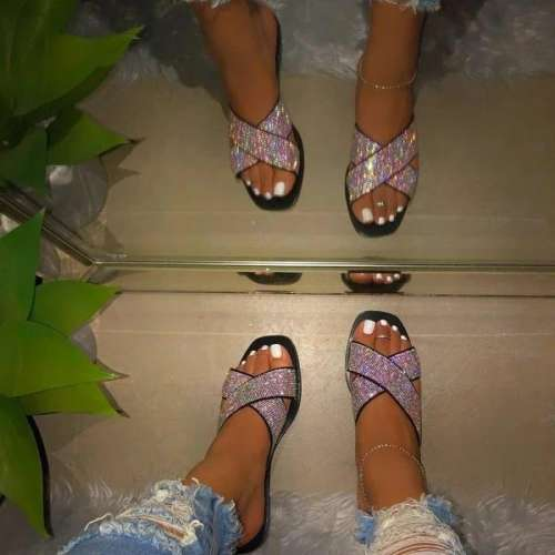 Cross Flat With Rhinestone Slip-On Casual Casual Slippers