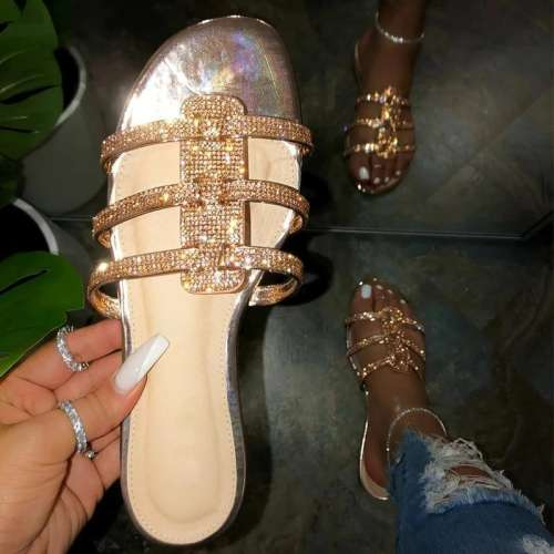 Women Holiday Rhinestone Slip On Flat Heel Sandals