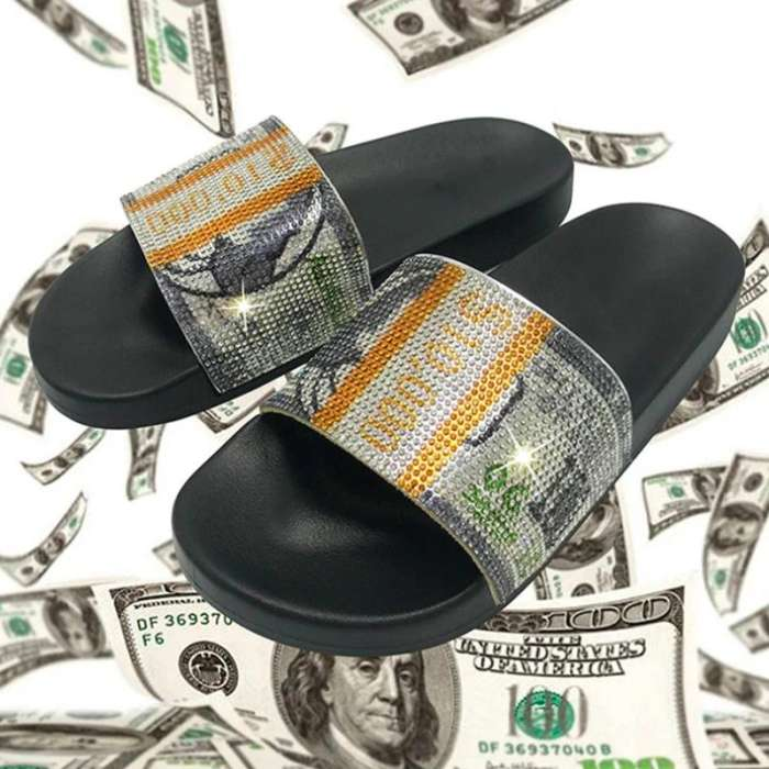 Women Comfortable Fashion PVC Money Rhinestone Flat Slippers