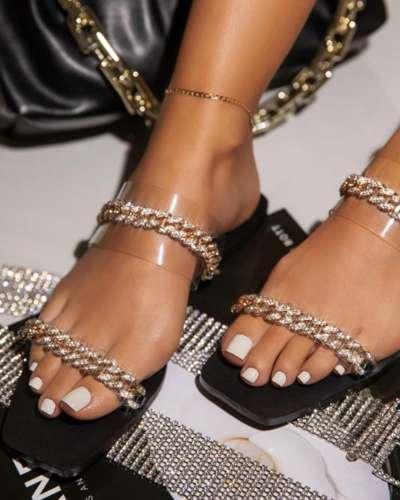 Square-toe Splicing Chain Open-toe Flat Slippers