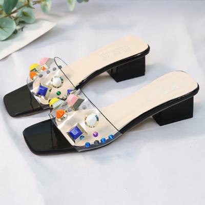 Women's PU Studded Transparent Slides Slippers
