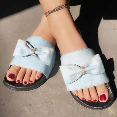 Women Fashionable Denim Bowknot Rhinestone Casual Slippers
