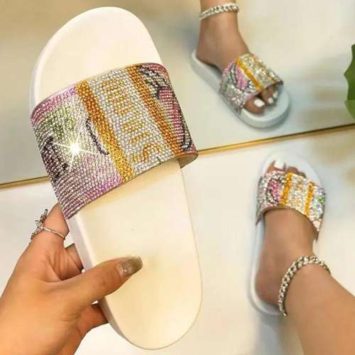 Women Comfortable Fashion PVC Money Rhinestone Flat Slippers