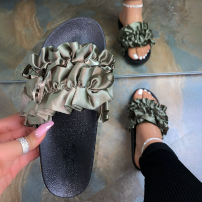 Flowers Cloth Flat Slippers