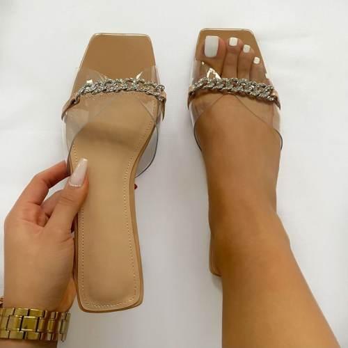 Ambrose Black Patent Clear Diamante Chain Sandals