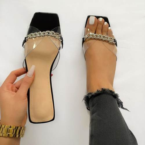 Ambrose Black Patent Clear Diamante Chain Sandals