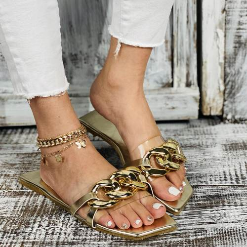 Gold Chain Detailed Clear Strap Flat Slippers