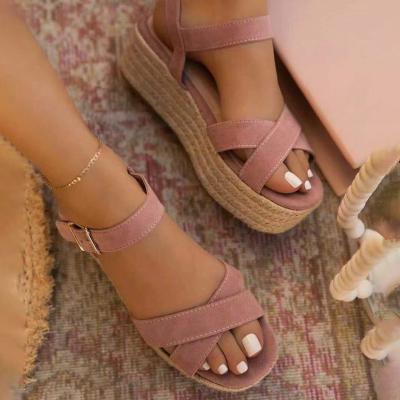 Women Casual Elegant Pu Cross-strap Adjusting Buckle Platform Sandals