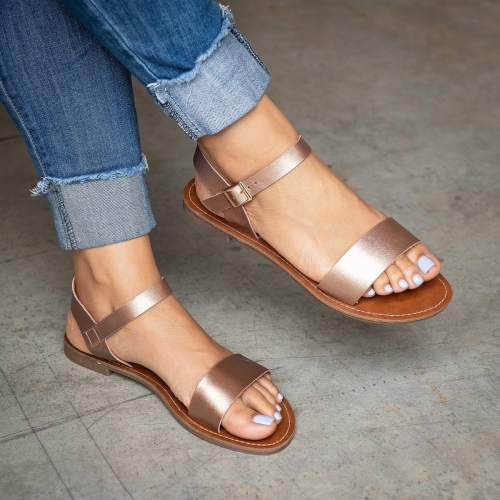 Single Strap Rose Gold&Leopard Sandals