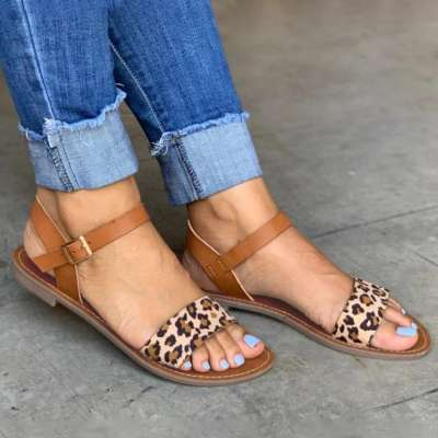 Single Strap Rose Gold&Leopard Sandals