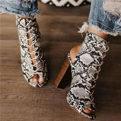 WMNS Heel Reptile Chunky Heels - Open Toe