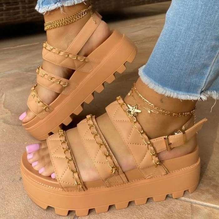 Women Comfotable Fashion Pu Chain Adjusting Buckle Thick Bottom Sandal