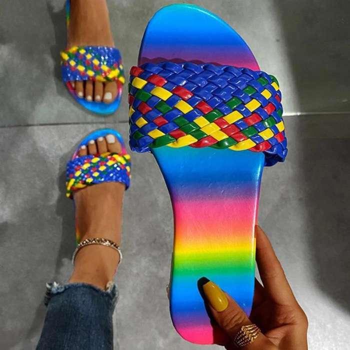 Women Stylish Rainbow Woven Pattern Slippers