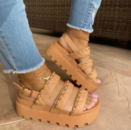 Women Comfotable Fashion Pu Chain Adjusting Buckle Thick Bottom Sandal