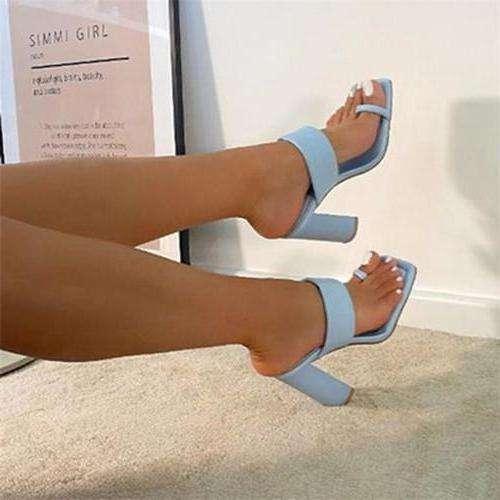 Women Thick Heel Ring Toe Sandals