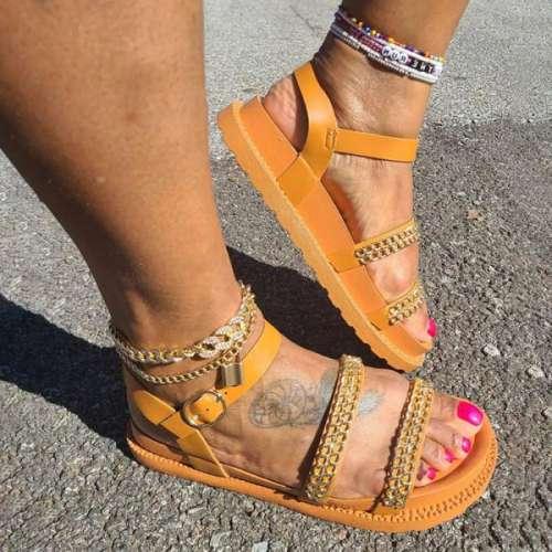 Women's Fashion Chain Flat Sandals