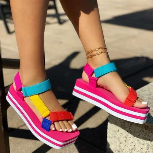 Cute Knitted Belt Platform Sandals