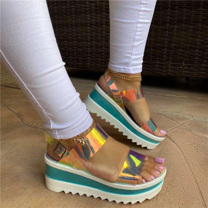 Women Fashion Pu Translucent Simple Platform Sandals