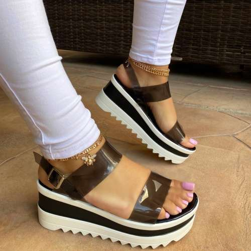 Women Fashion Pu Translucent Simple Platform Sandals