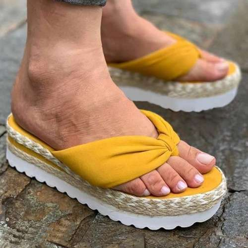Women Casual Comfortable Cloth Flip-flop Platform Sandals Slippers