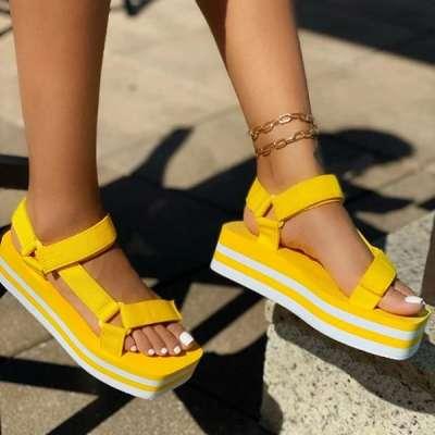 Cute Knitted Belt Platform Sandals
