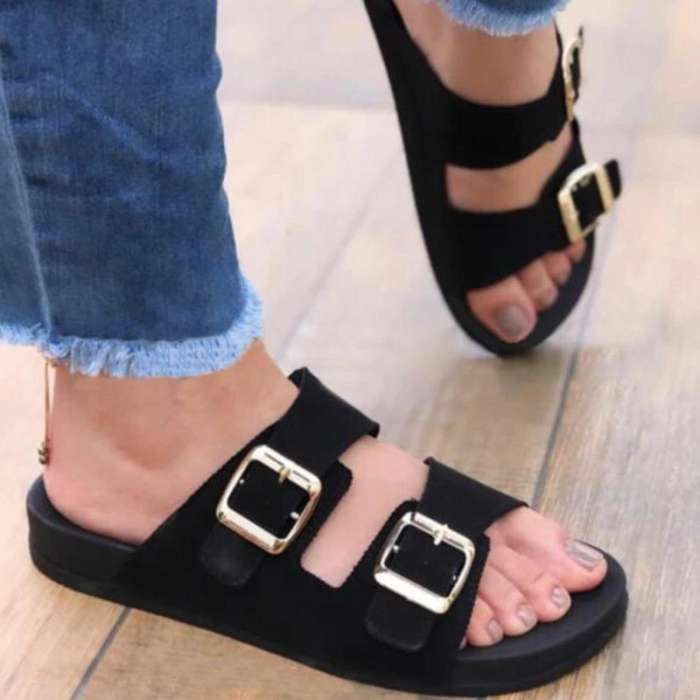 **Women Casual Comfy Fashion Pu Double Buckle Decoration Flat Sandals Slippers