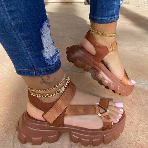 Women Casual Fashion Cloth Hook-Loop Magic Tape Platform Sandals
