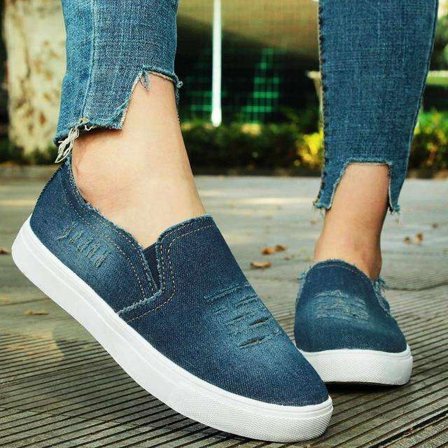 Women's Denim Canvas Casual Platform Breathable Footwear Classic Loafers