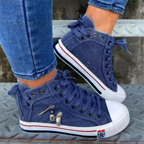 Denim Skull Punk High-top Canvas Sneakers
