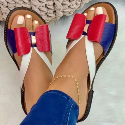 Women Casual Pu Color-Blocking Bowknot Flat Sandals