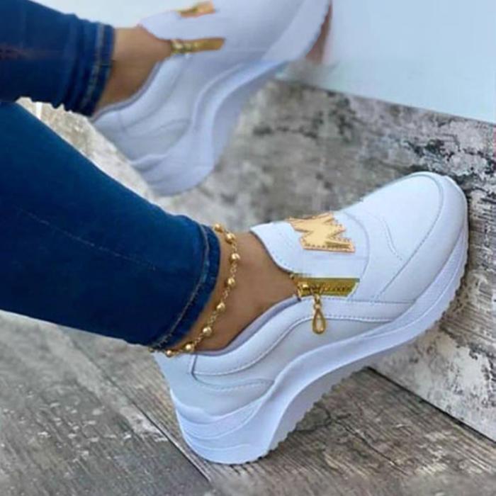 Women's Fashion Letter Decoration Comfortable Zipper Design Sneakers