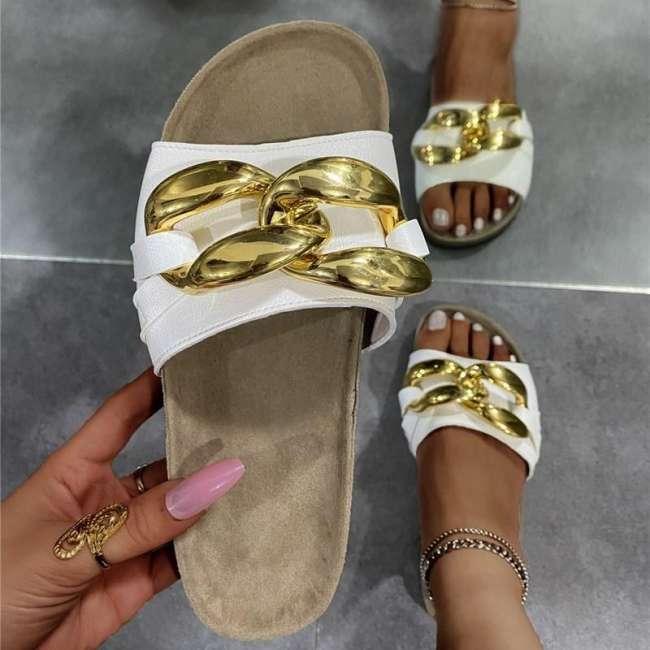 Metal Button Flat Heel Slippers