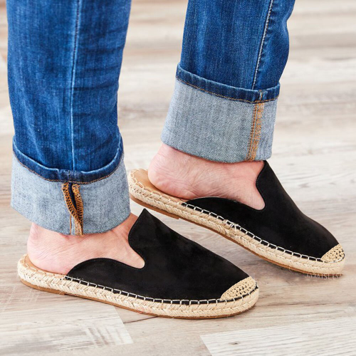 Women's Casual Comfy Non-slip Slip On Rope-wrapped Sole Slipper