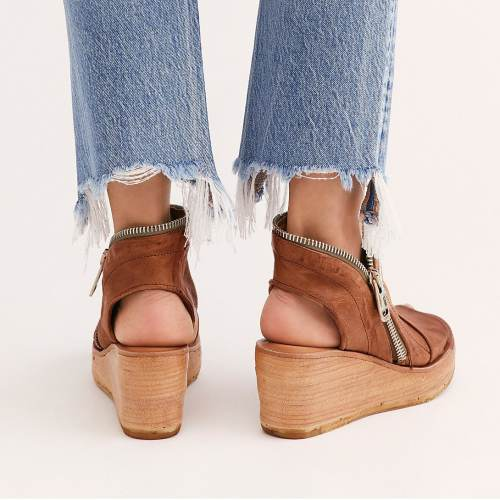 Vintage PU Zipper Wedge Sandals