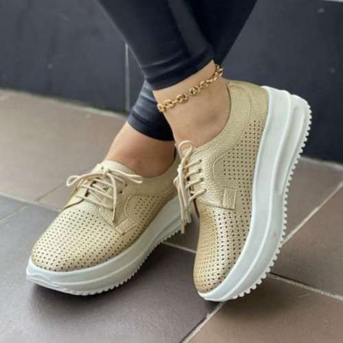 Women's PU Lace-up Solid Color Shoes