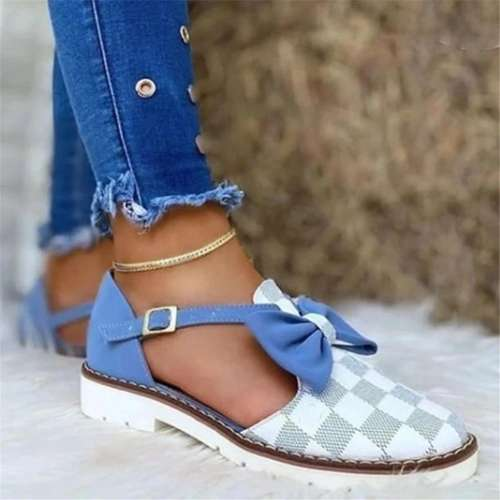 Women Fashion Pu Plaid Bowknot Buckle Flat Sandals