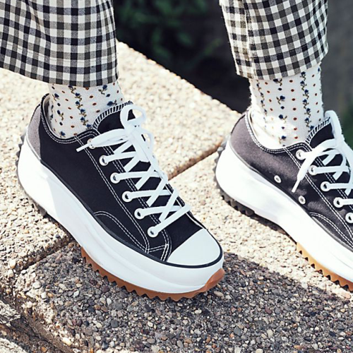 Women's Lace-up Canvas Flat Heel Sneakers