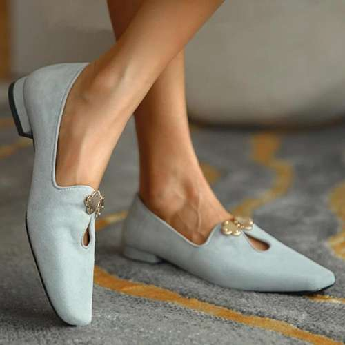 Women Simple Elegant Pu Chic Metal Buckle Slip On Flat Loafers