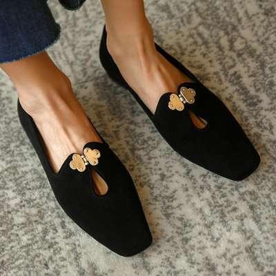 Women Simple Elegant Pu Chic Metal Buckle Slip On Flat Loafers